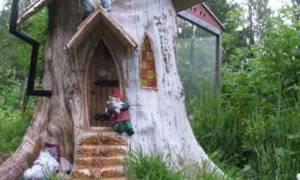 Украшаем пни и спилы деревьев на даче